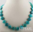 diamond square blue rasper necklace with moonlight clasp