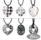 6 pcs Multi Shape Stitching Shell Pendant Necklace with Black Leather