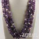 multi strand amethyst white pearl necklace