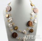 43.3 inches long style white teeth pearl shell and crystal necklace