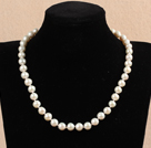 Hot Sale Women Gift A Grade 8-9mm Natural White Freshwater Pearl Necklace With Heart Clasp