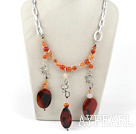 chunky style fancy agate necklace with bold metal chain