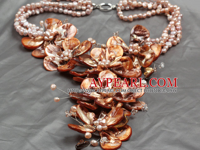 Aamzing Exaggerate Brown Freshwater Pearl and Shell Flower Oversized Statement Necklace