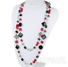 55.1 inches long style red coral black agate necklace
