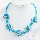 Wholesale blue crystal and shell necklace with lobster clasp