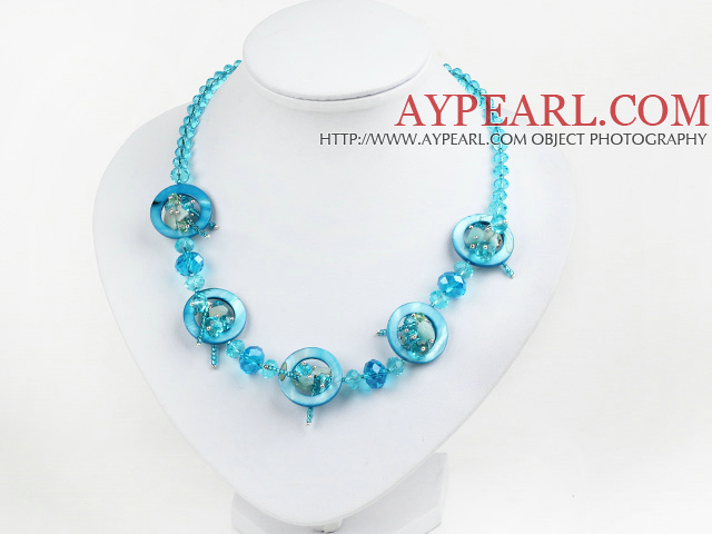 blue crystal and shell necklace with lobster clasp