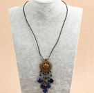 Simple Retro Style Black Crystal Flat Round Lapis Tassel Pendant Necklace With Black Leather