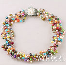 Wholesale multi strand colorful pearl  necklace with flower clasp 