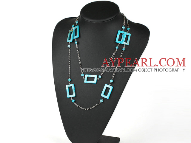 fashion long style blue pearl and shell necklace