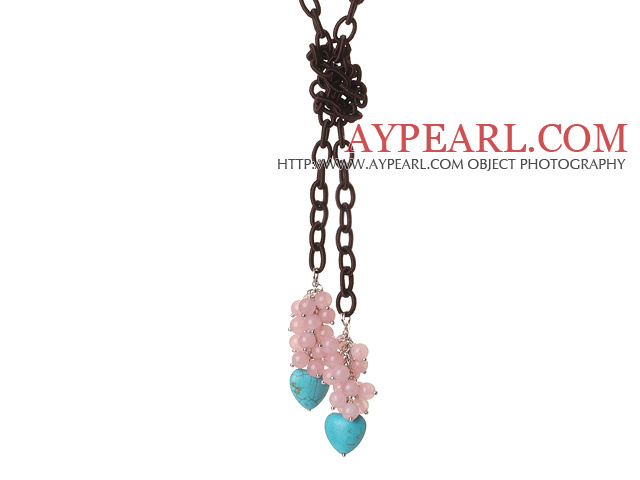 New Long Style Assorted Pink Jade Beads with Heart Shape Turquoise Necklace and Leather Chain