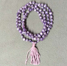 New Arrival Natural Purple Potato Pearl Necklace With Pink Tassel (Also can be Bracelet)