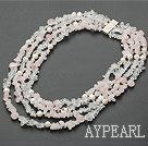 Wholesale multi strand white crystal and rose quartze necklace