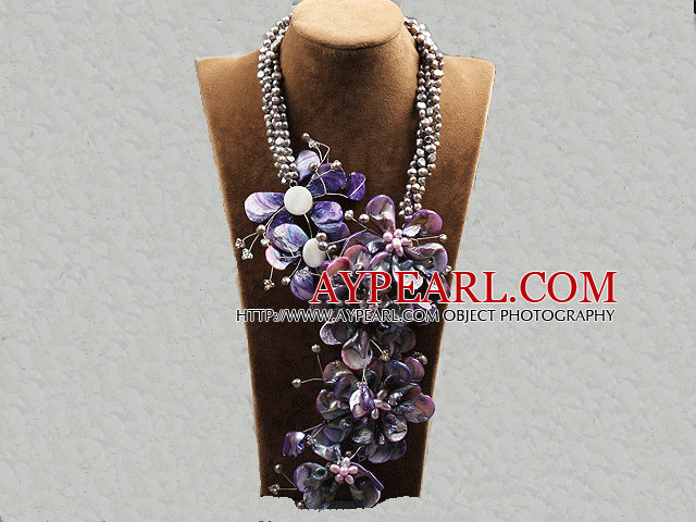 Aamzing Exaggerate Purple Freshwater Pearl and Shell Flower Oversized Statement Necklace