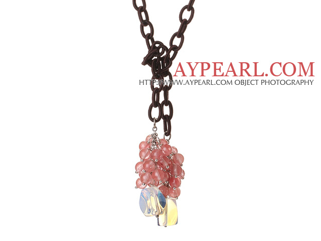 New Long Style Assorted Cherry Quartz Beads Necklace with Opal and Leather Chain