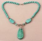 Wholesale Turquoise Necklace with Long Teardrop Turquoise Pendant