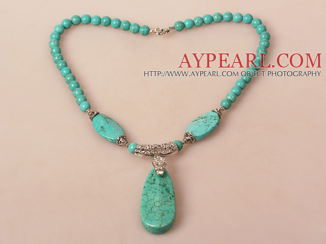 Turquoise Necklace with Long Teardrop Turquoise Pendant