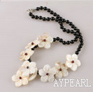 black agate and white shell flower necklace