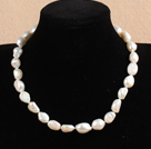Hot Sale Women Gift 10-11mm Natural White Baroque Pearl Necklace With Heart Clasp