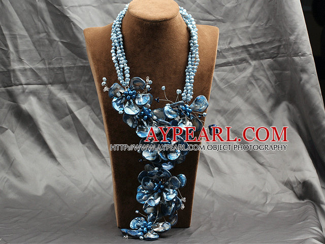 Aamzing Exaggerate Blue Freshwater Pearl and Shell Flower Oversized Statement Necklace