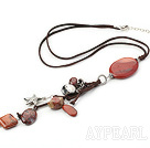 23.6 inches red jasper pendant necklace with extendable chain