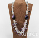 multi strand charming amethyst clear crystal agate necklace