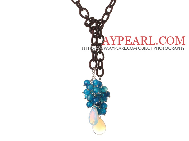 New Long Style Assorted Blue Agate Beads Necklace with Drop Shape Opal and Leather Chain