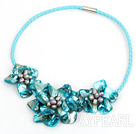 Elegant style smaller sky blue color pearl shell flower necklace