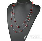 fashion 51.2 inches long style red crystal necklace