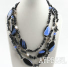 Wholesale multi strand pearl and crystallize agate necklace