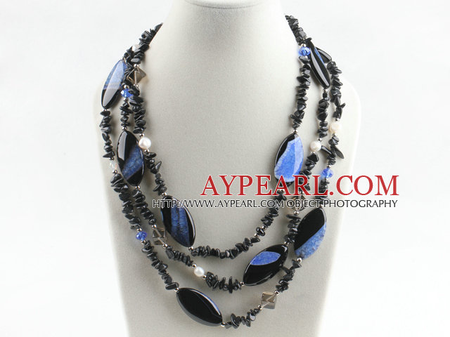 multi strand pearl and crystallize agate necklace