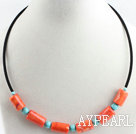 Wholesale 17.7 inches orange coral and turquoise necklace