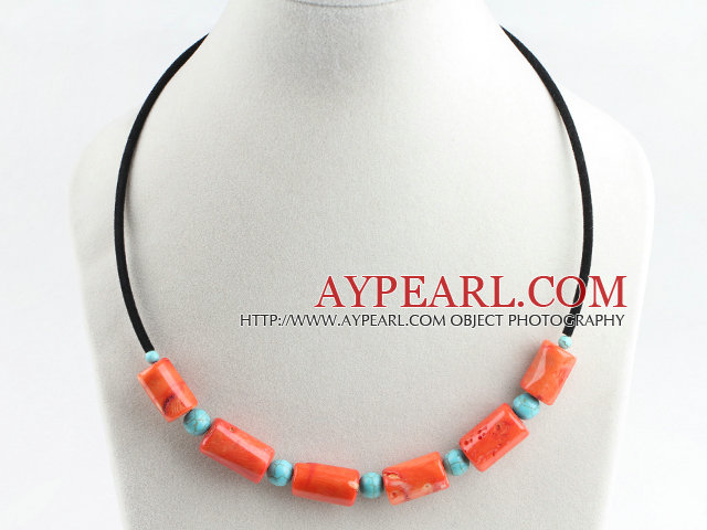 17.7 inches orange coral and turquoise necklace
