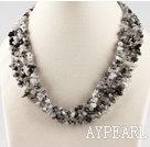 Wholesale black rutilated quartz chips necklace with gem clasp
