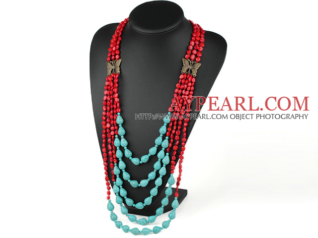 multi strand red coral and turquoise necklace