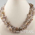 Wholesale multi strand finely carved gray agate  necklace with gem clasp