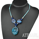 Wholesale simple and fashion blue agate necklace with round pendant