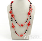 Wholesale black crystal and red colored glaze neckace