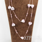 Wholesale fashion jewelry pink crystal and colored glaze heart necklace with metal chain