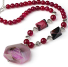 pink agate pendant necklace with extendable chain