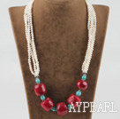 21.7 inches fashion style white pearl turquoise and red coral necklace