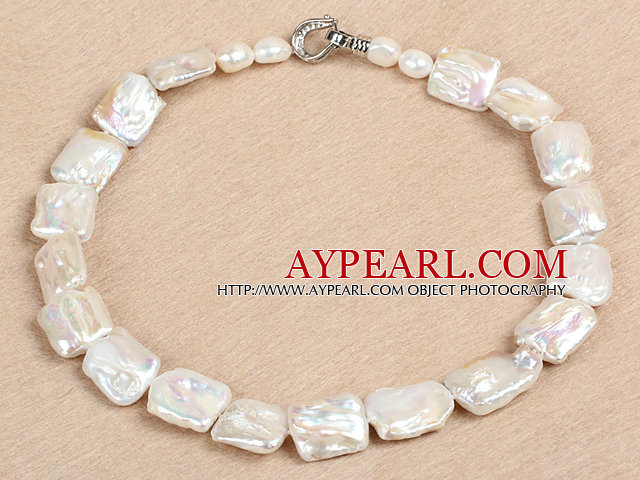 Elegant A Grade Natural White Oblong Shape Rebirth Pearl Chunky Party Necklace