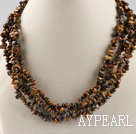 Wholesale multi strand tiger eye chips necklace with gem clasp