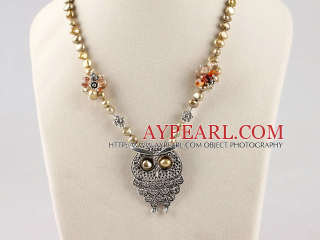 popular brown pearl and owl pendant necklace