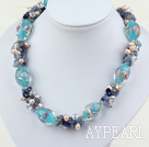 Wholesale 17.5 inches pearl crystal and kyanite and colored glaze necklace with toggle clasp