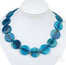 Beautiful 25Mm Flat Round Blue Agate Beaded Strand Necklace With Toggle Clasp