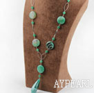 green round agate and line agate nekclace with extendable chain