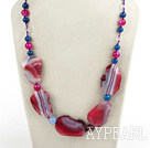Wholesale Popular Pink And Blue Brazil Agate Natural Cracked Beaded Strand Necklace