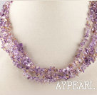 Wholesale multi strand amethyst and citrine chips necklace with gem clasp