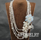 Wholesale White Series Big Style Multi Strands White Pearl Crystal and Howlite and Shell Flower Party Necklace