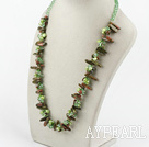 Wholesale green pearl crystal and gem stone necklace